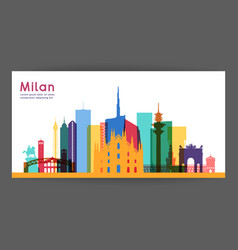 Milan colorful architecture vector