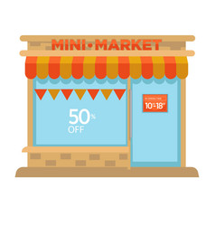 mini market shop booth facade building of grocery vector image