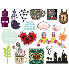 Mix of different images and icons vol68 vector image