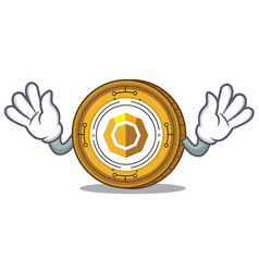 Mocking komodo coin mascot cartoon vector