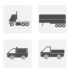 monochrome icon set with truck vector image