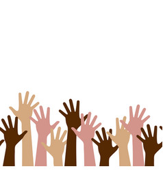 multicultural crowd people with hands up vector image