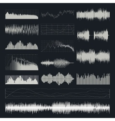 Music sound waves set isolated on a dark vector