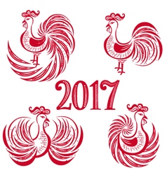 new year rooster set vector image