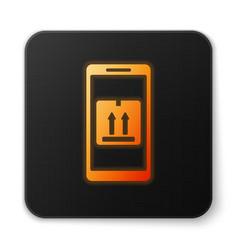 Orange glowing neon mobile smart phone with app vector