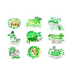 Organic farm food promo signs colorful set vector