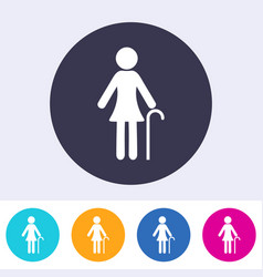 Pensioner woman sign icon vector