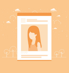 Picture of woman in acount template vector