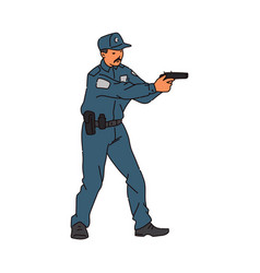 policeman character shooting from weapon sketch vector image