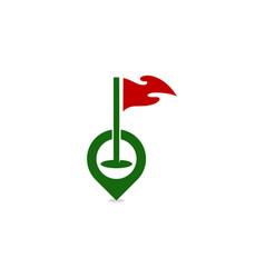 pushpin golf logo icon design vector image