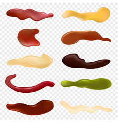 realistic detailed different sauces isolated on vector image