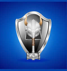 realistic silver helmet shield and hammer vector image