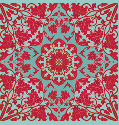 Red and turquoise floral pattern vector