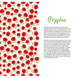 red poppy flowers border template for flyer vector image