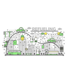 Refueling concept flat line art vector