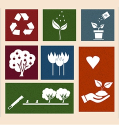 Retro labels with ecology signs and icons vector