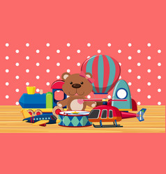 Room with many toys on wooden floor vector
