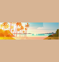 Sea shore beach on sunset beautiful seaside vector