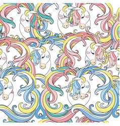 seamless pattern with heads unicorns with long vector image