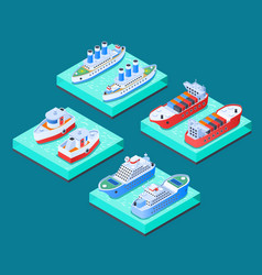 Ships isometric design concept vector