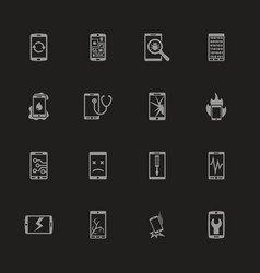 Smartphone repair - flat icons vector