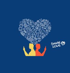 Social media internet love gay couple concept vector