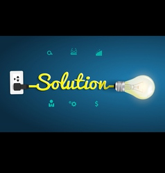 Solution concept with creative light bulb idea vector image