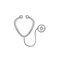 Stethoscope sketch icon vector