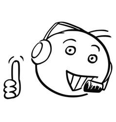 Stick man cartoon of male customer support vector