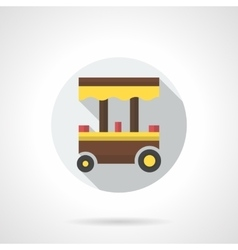 Takeaway food cart flat color design icon vector