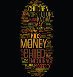 Teach your child about money text background word vector