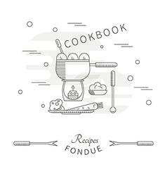 Template menu cookbook recipes fondue vector image