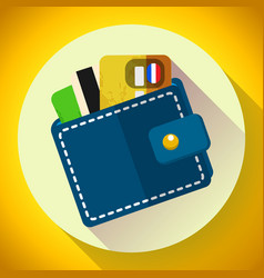 wallet and money icon wallet with cards vector image