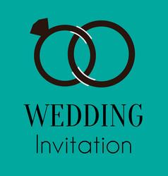Wedding ring invitation image vector