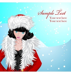 Winter background with girl in Santas costume vector image