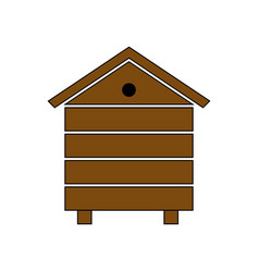 Wooden beehive icon in cartoon style vector