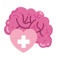 world mental health day human heart and brain vector image