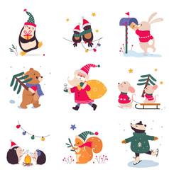 xmas animals cartoon characters merry christmas vector image