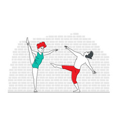 young people dancing couple man and woman vector image