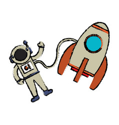 astronaut rocket floating image vector image