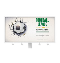 Billboard with football ball damaged the wall with vector