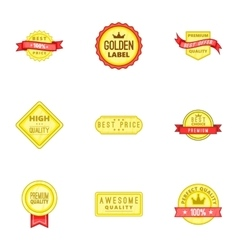 Certificate tag icons set cartoon style vector