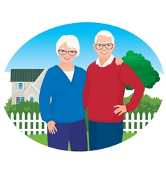 Elderly husband and wife are in their household vector image vector image