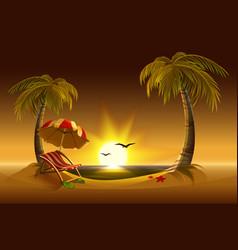Evening beach Sea sun palm trees and sand vector image