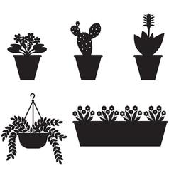 flower pot set vector image vector image