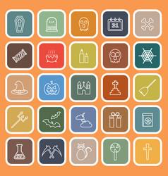 halloween line flat icons on orange background vector image