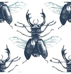 seamless pattern with deer beetle vector image