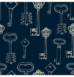 seamless pattern with retro keys vector image vector image