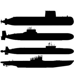 Submarine silhouettes vector