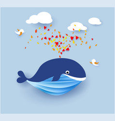 whale flying on blue sky background vector image vector image